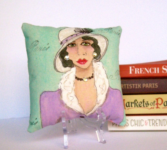 new..ANAIS NIN PILLOW, hand painted pillow, Anais Nin, Paris, Paris lady, quote, gift for woman, soft green, lavender, Christmas, fun quote,