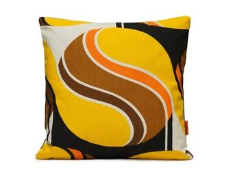 Yellow Retro Pillow Cover |  mid century decorative pillow | yellow throw 16x16 | custom pillow | yellow pillow cover | Handmade by EllaOsix