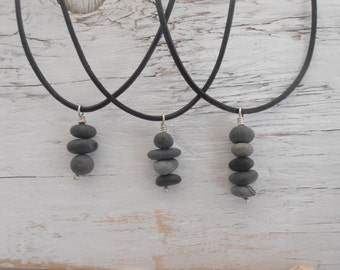Rock stack tiny cairn sculpture on leather cord