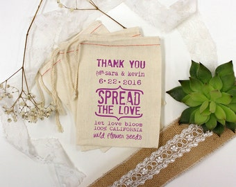 Spread The Love Custom Muslin Cloth Bags 3x5 perfect for let love bloom flower seed wedding favors 150 qty --13021-MB03-610