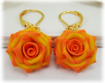 Orange Tip Yellow Rose Petal Earrings