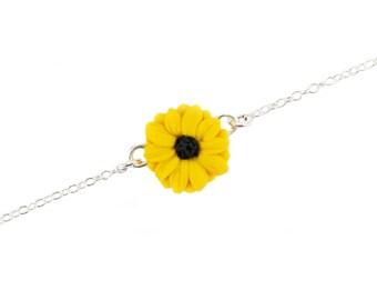 Black Eyed Susan Sterling Silver Anklet or Bracelet - Black Eyed Susan Ankle Bracelet Jewelry, Yellow Coneflower