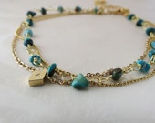 Personalized  Anklet Boho Chic Gold Anklet genuine Turquoises Triple Chain Layered Anklet Bridesmaids Gift Beach Anklet Foot Bracelet