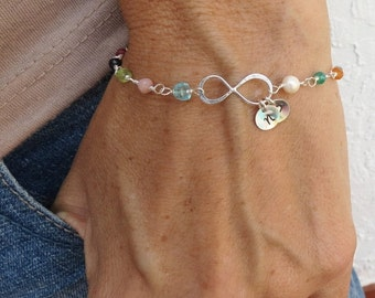 TWO DAY SALE Customized Initial Infinity Bracelet,Friendship Bracelet Infinity Multi Gem Bracelet,Sister Bracelet Gift,To Infinity and Beyon