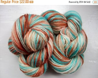 JULY SALE Sock yarn, hand dyed wool, hand painted, turquoise blue, brown 100g by SpinningStreak