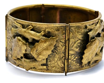 Vintage wide brass leaves and branches panel bracelet