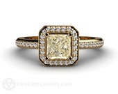 Light Yellow Sapphire Engagement Ring Princess Diamond Halo Lemon Yellow Sapphire Ring 14K or 18K White Yellow Rose Gold Custom