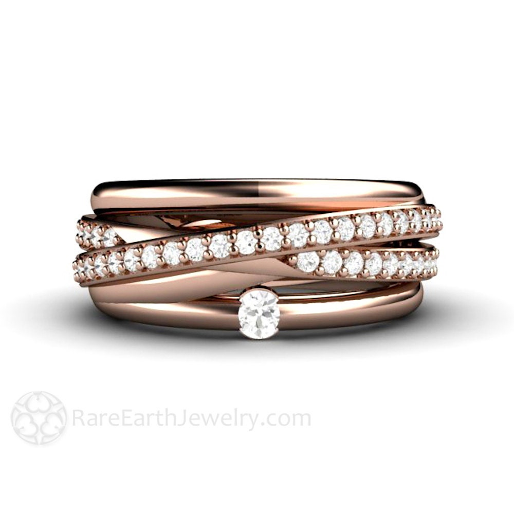 14K Diamond Band Triple Band Multi Band Rolling Ring Wedding