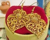 Viana Hearts Portuguese earrings gold filigree