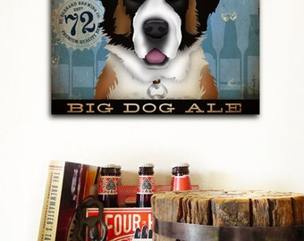 St bernard saint bernard dog beer brewing company graphic artwork on gallery wrapped canvas by stephen fowler