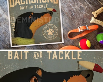 Dachshund dog bait and tackle lure company graphic illustration giclee archival signed print by stephen fowler Pick A Size