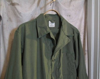 vintage green coveralls army cotton sateen firefly mechanic coveralls 70s olive green workwear cotton  coveralls large