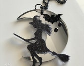 SALE!! Mirror WITCH laser cut acrylic necklace