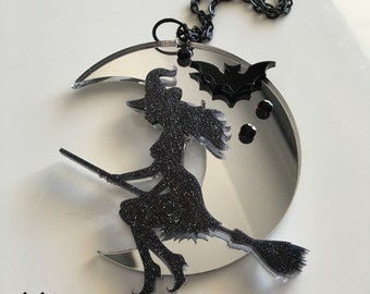 Mirror WITCH laser cut acrylic necklace