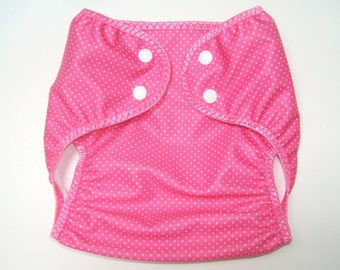 Diaper Cover, Medium Cloth Diaper Cover, Nappy Wrap with Snaps, Pink Dot