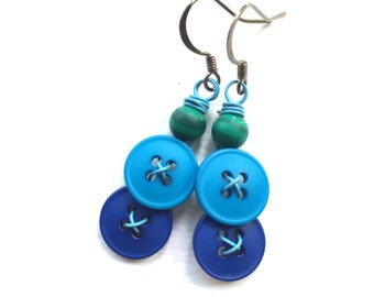 Bright Blue Vintage Button Dangle Earrings with Green Beads