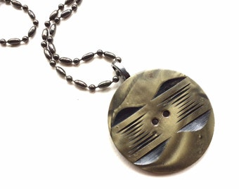 Button Necklace - Vintage Art Deco Carved Celluloid Button