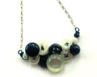 Winter sale Small Classic Black and White Vintage Button Necklace