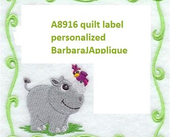 A8916  Quilt Label machine embroidered personalized