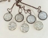 Custom Dictionary Word Necklace~Vintage Dictionary Jewelry~You Choose the Word Pendant~New Mommy, Bridesmaids, Teacher, Grandmother Gift