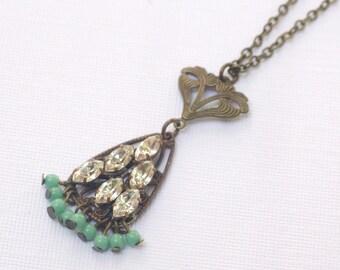 Art nouveau necklace 1920's style flapper crystal brass seafoam green beaded pendant rhinestone bronze finish