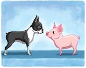 Boston terrier art, boston terrier art print, boston terrier with pig, pig art print