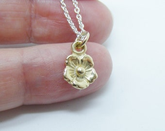 9k Gold Flower Pendant on a silver chain. Solid gold flower, Flower jewelry