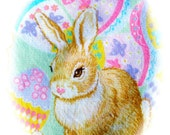 "Vintage Easter Tablecloth - Bunnies - 40"" x 50"""