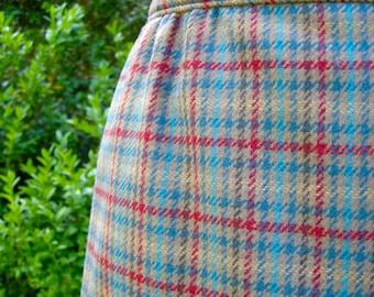 Plaid Pendleton Wool Skirt - Size 14 - Tartan - 1980s