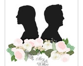 Custom Portrait Wedding Invitation, Bride and Groom Sign, Custom Art, Silhouette Cameo, Wedding Sign, Romantic Wedding, Blush Wedding
