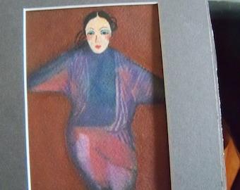 original art color  pencil drawing oriental dancer girl