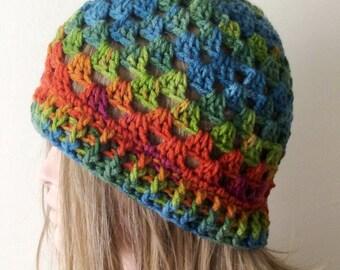 "Handmade Colorful  Granny Crochet Beanie, Boho ""Chunky """