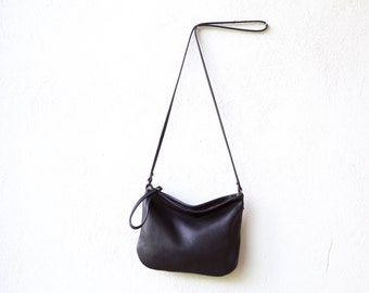 50% off - small black leather crossbody bag - CLUTCH with cross body strap - small leather bag