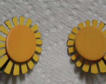 Metal Yellow Flower Clip Earrings