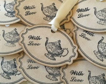 Tea Favors, Tea Tags, Wedding Favor Tags, Ivory Wedding Favors, tea party tags, Wedding Decorations, Favor Ideas, Coffee Favours