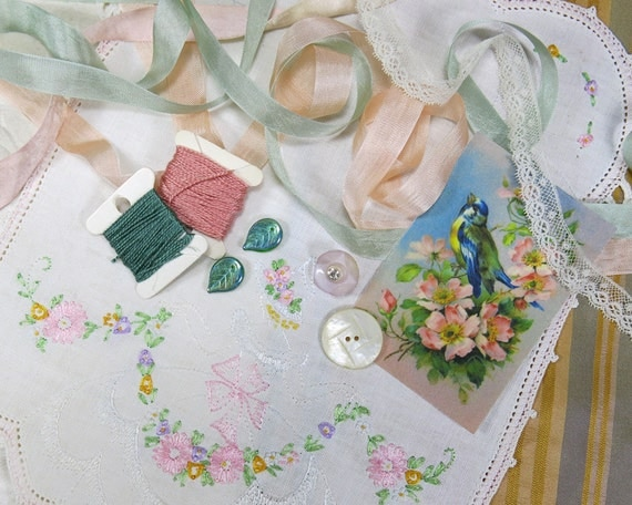 Vintage embroidered linen fabric bird cotton image collage