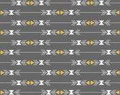 Tribal Fabric, Gold Fabric, Sparkle fabric, Arrow fabric by Riley Blake- Four Corners Stripe Gray- Fabric by the Yard, You Choose the Cut