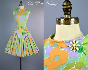 Colorful Pleated Floral Dress S Vintage Garden Party Full Skirt Frock ~ Metal Enamel Floral Brooch/Pin