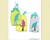 Bird Art Print, Nursery Decor, Art Print