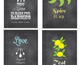 Personalized Chalkboard Inspired Kitchen Art Set, Funny Kitchen Signs, Chalkboard, Funny Kitchen Art