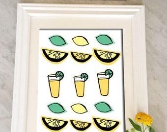 kitchen art, lemonade art print