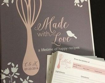 bridal shower recipe cards, bridal shower recipe book, recipe binder, custom recipe, bridal shower recipes