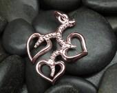 Gold heart vine leaf pendant in solid gold - 10kt 14kt or 18kt