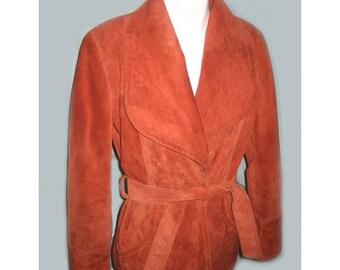 SALE Vintage 1970's Woman's Burnt Orange Suede Suede Jacket