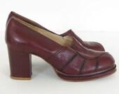 RESERVED - Tony Iammatteo for Cristina 1970's Vintage Oxblood Leather Platform Shoes Sz 6.5