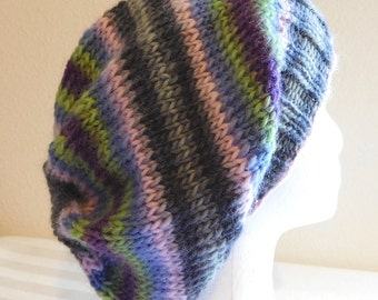 Wool Slouch Hat - Slouchy Knit Beanie - Knitted Dreadlock Toque - Hand Knit Hat - Berry Field