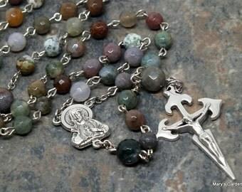 Gemstone Rosary of Facetted Fancy Jasper; Catholic Rosary; 5 Decade Rosary; Jasper Rosary; Men's Rosary