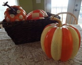 Painted Pumpkins Fall Decor Thanksgiving Basket Full Of Pumpkins Centerpiece Whimsical Painted