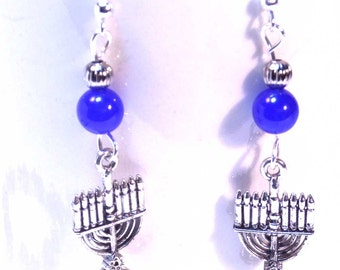 Chanukah earrings - Menorah Charms