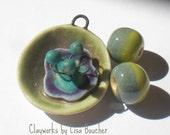 Porcelain 3D Flower Pendant and Bead Set